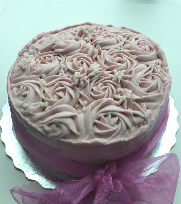 Raspberry Greek Yogurt Cake with Lemon Curd and Raspberry White Chocolate Icing